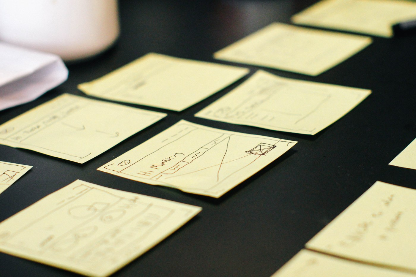 sticky notes outlining content marketing campaign