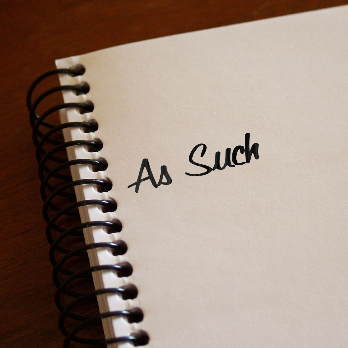 "the words ""as such"" written in notebook"